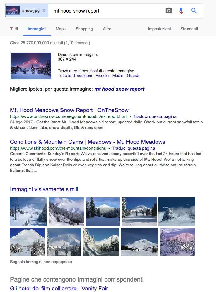 Esempio risultati snow