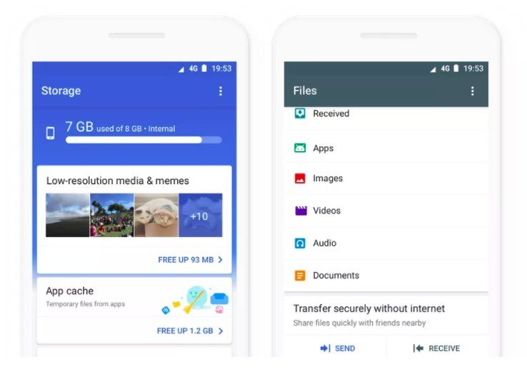 Interfaccia Google Files Go